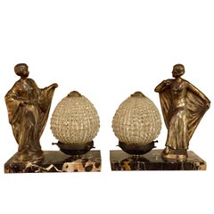 Pair of French Deco Figural Table Lamps on Marble Bases Beaded Crystal Shades