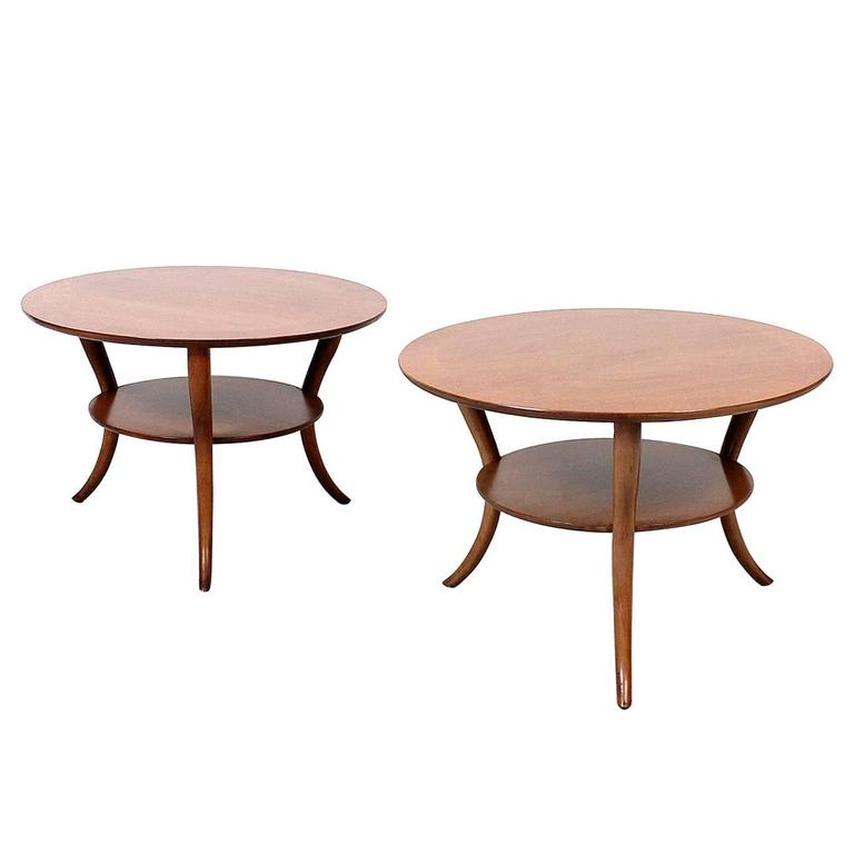 Pair Of T H Robsjohn Gibbings Saber Leg Tables For Sale At 1stdibs