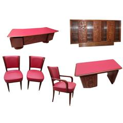 Important Italian 1960s Office Studio, Signed, Library, Desks, and Chairs