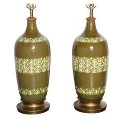Monumental Pair of Aldo Londi Moorish Ceramic Lamps in Olive and Spring Green