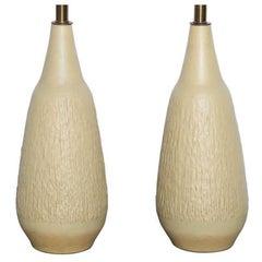 Tall Pair of Lee Rosen for Design Technics Textured Cream Yellow Ceramic Lamps
