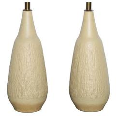 Tall Pair of Lee Rosen for Design Technics Textured Cream Yellow Ceramic Lamps
