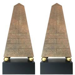 Pair of Monumental Post-Modern Obelisk Cabinets