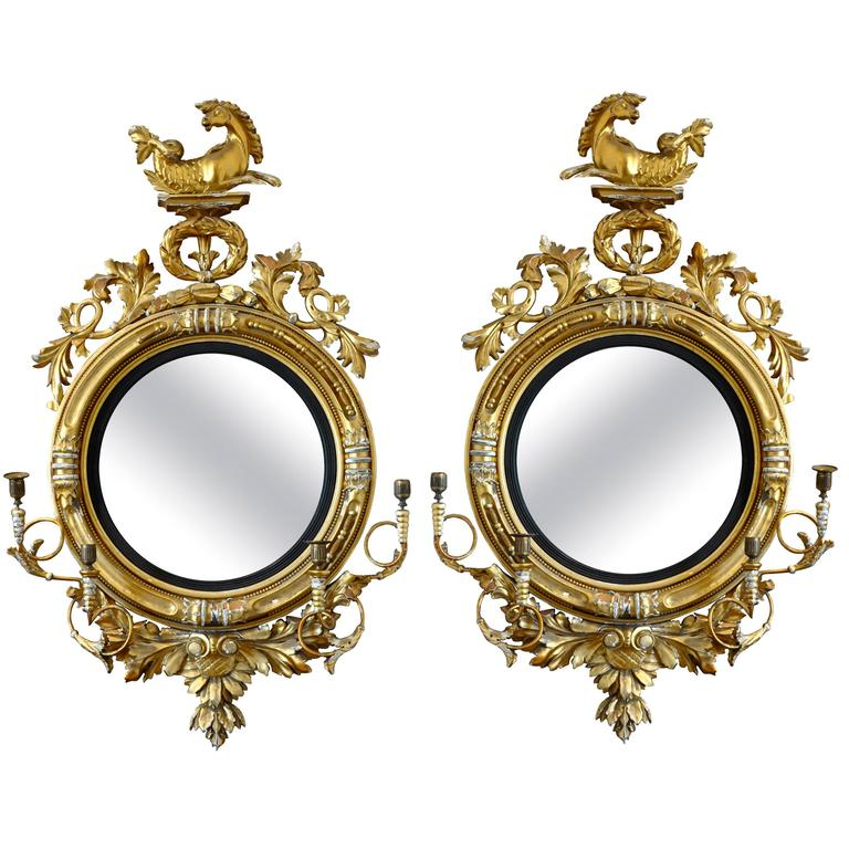 Pair of 19th Century Regency Convex Mirror Girandoles with Hippogryphs