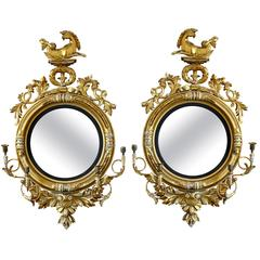 Pair of 19th Century Regency Convex Mirror Girandoles with Hippogryphs
