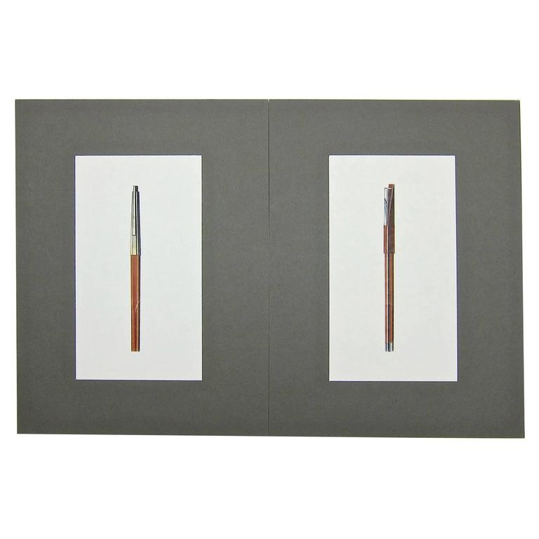 Two Original Jerome Gould Mixed-Media Design Drawings for Writing Instruments