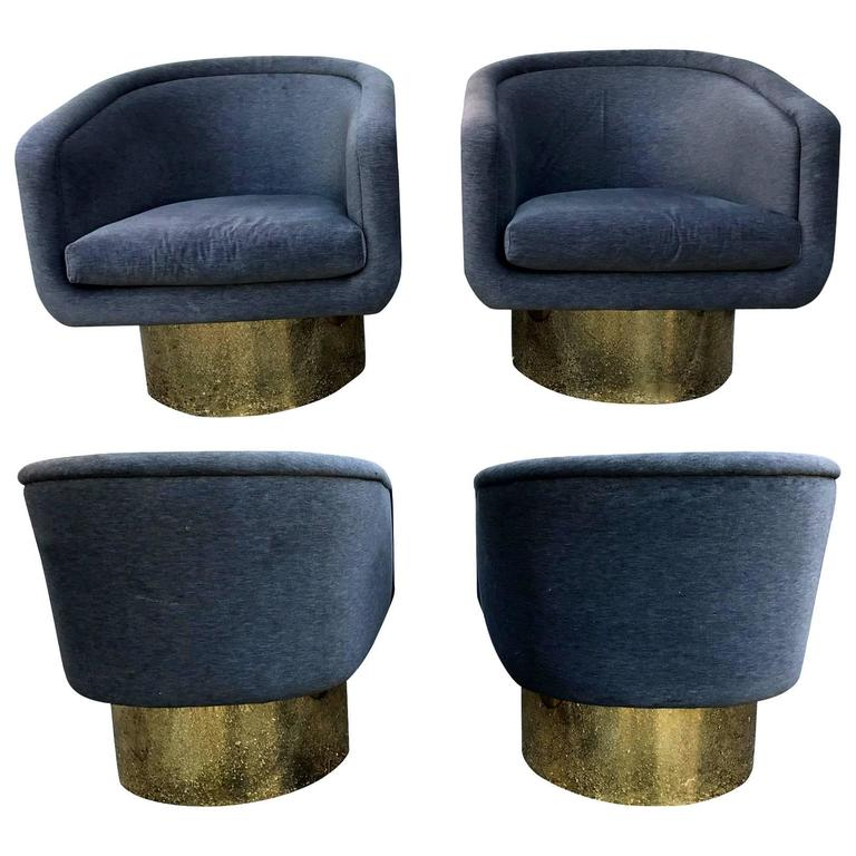 Pairs of Swivel Brass Tub Chairs Leon Rosen Pace Collection at 1stdibs