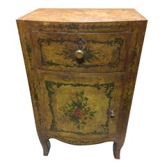 Commode 18th Century Venetian  Yellow Lacquered Pine with Painted Flowers