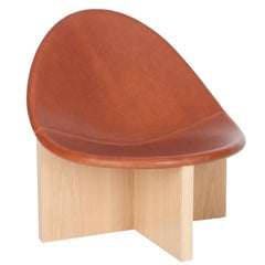 Nido Lounge Chair with White Oak Base & Brown Leather Seat by Estudio Persona