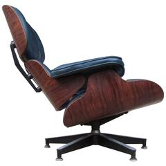 Superb Herman Miller Eames Lounge Chair in Rosewood and Custom Indigo Leather