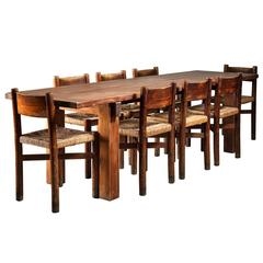 Charlotte Perriand Brazil Table with a Set of Eight Courchevel Chairs, France