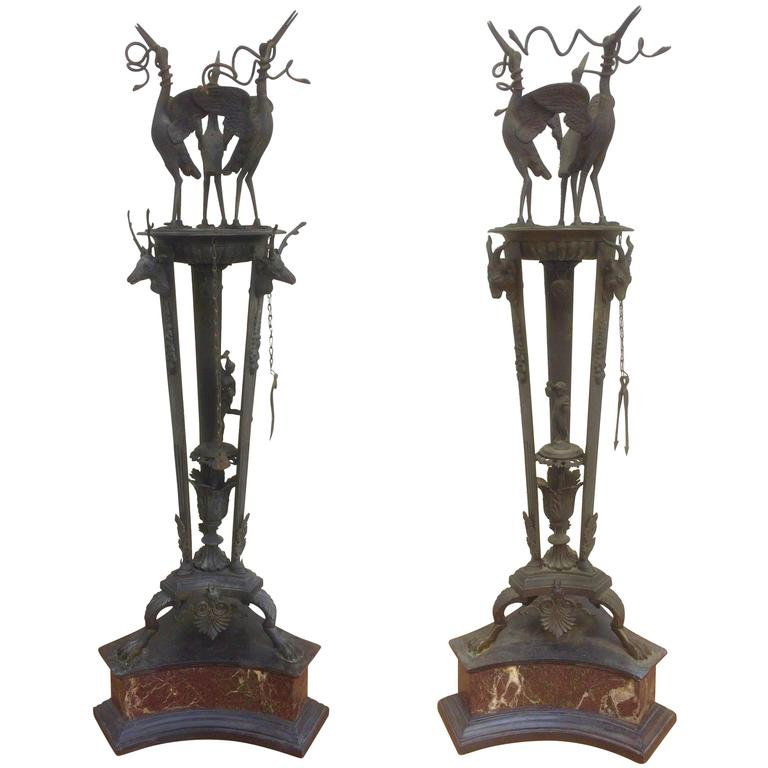 Pair of Italian Grand Tour Bronze Oil Lamps on Marble Bases For Sale