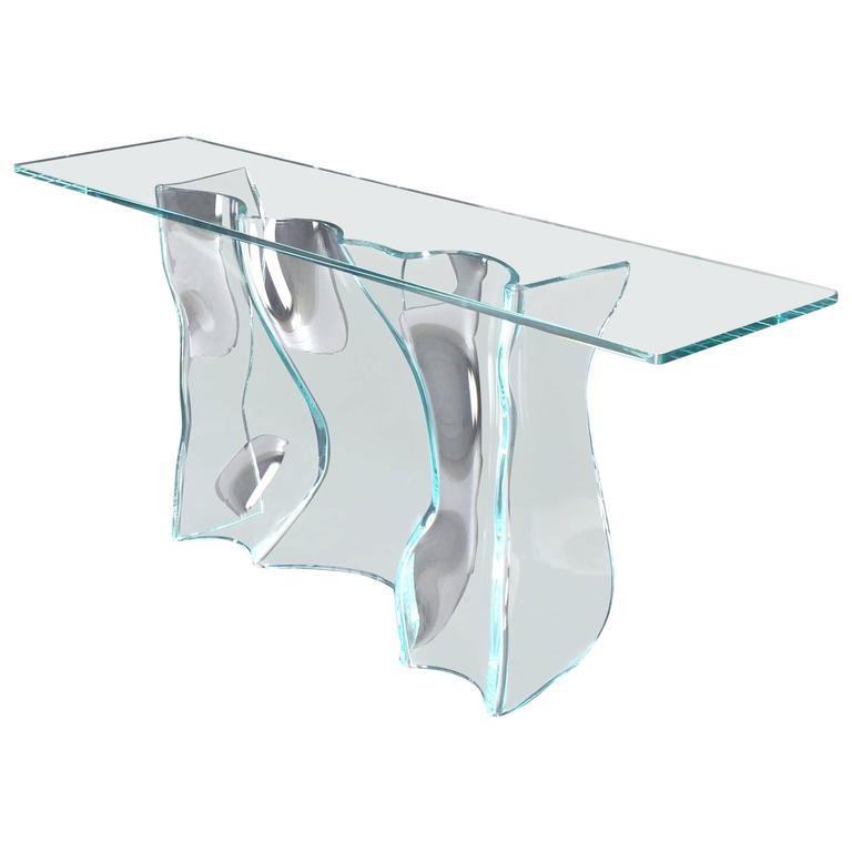 Organic Free Form Molded Glass Wave Pattern Large Console Table For Sale