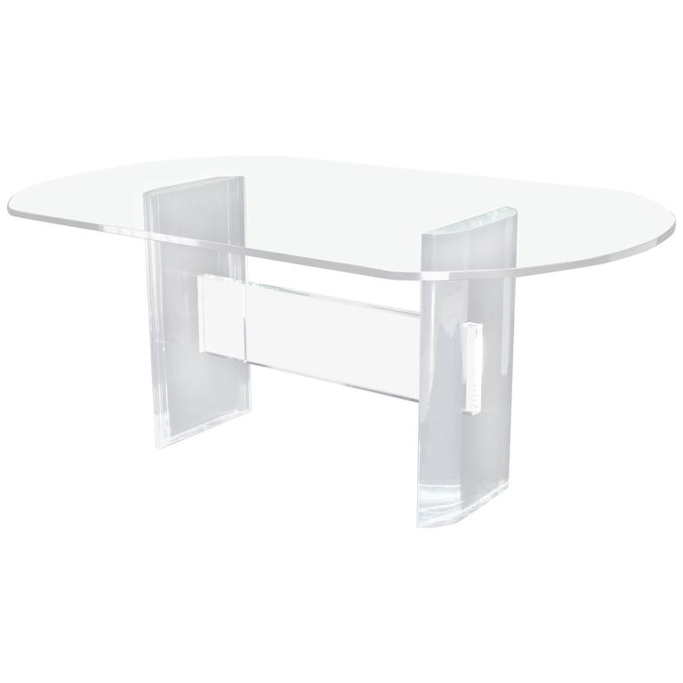 Thick Oval Glass Top Lucite Base Dining Conference Table At 1stdibs