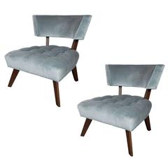Classic Pair of Klismos Chairs by Billy Haines in Walnut and Blue Velvet