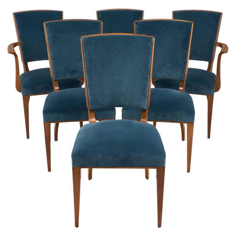 Ordinaire French Art Deco Set Of Cherrywood Dining Room Chairs For Sale