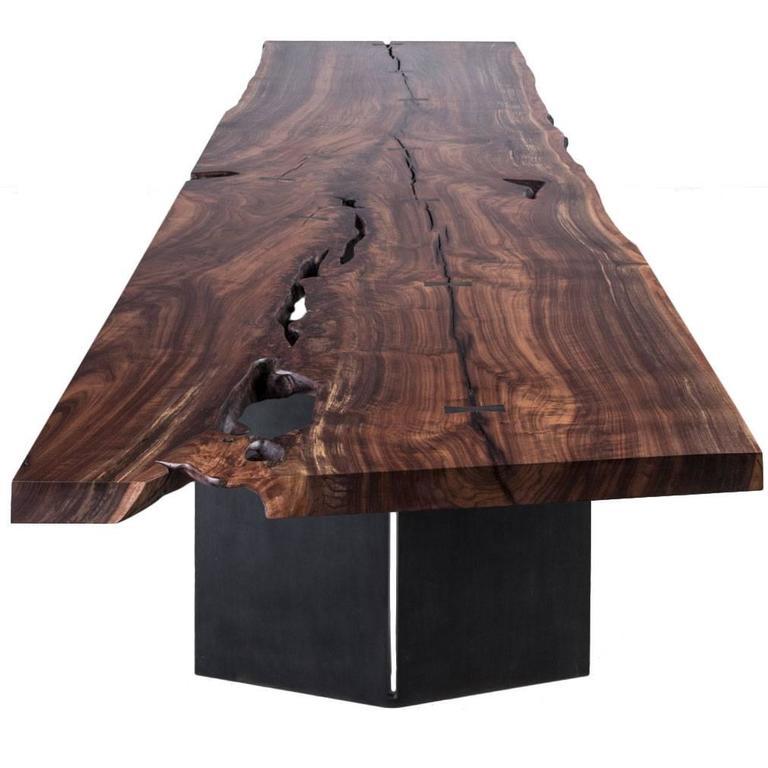 Milo Dining Table by Uhuru Design, claro walnut slab, blackened steel