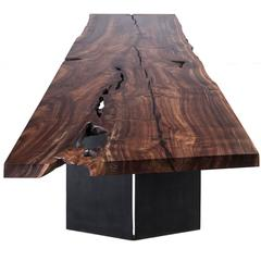 Milo Dining Table by Uhuru Design, claro walnut slab, blackened steel