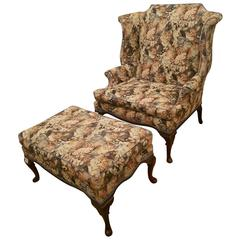 19th Century Oversized Queen Anne Wing Chair and Ottoman
