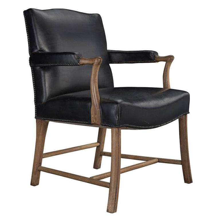Leather and Oak Armchair, circa 1950