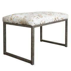 Embossed Metallic Splash Brazilian Cowhide Bench on Iron Base