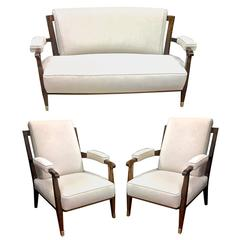 Jules Leleu Chicest Documented Rare Set of One Curved Couch and Two Chair