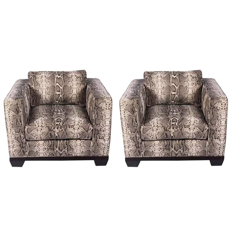 Pair of Python Baker Club Chairs For Sale