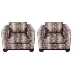 Pair of Python Baker Club Chairs