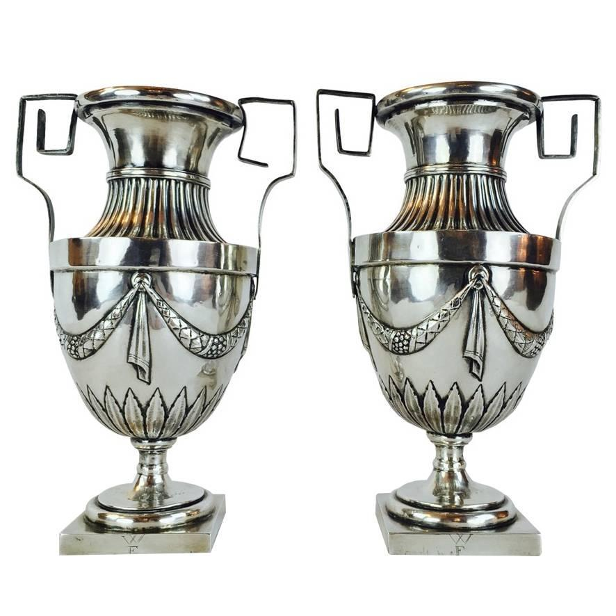 pair of early 19th century louis xvi silver vases grand tour italian vases for sale at 1stdibs. Black Bedroom Furniture Sets. Home Design Ideas