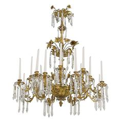 French Rococo Style Bronze Doré Chandelier with 16 Candles & 6 lights, ca 1840