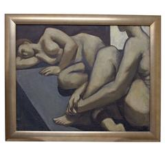Large Figural Nude Painting by David Ladin, American Mid 20th Century