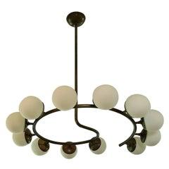"""Fibonacci 12"" Italian Modern Brass Chandelier by Blueprint Lighting"