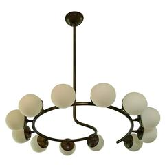 Large Sculptural 12 Globe Italian Modern Brass Chandelier by Blueprint Lighting