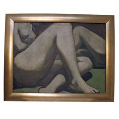 Large Nude Figural Painting signed Ladin, American Mid 20th Century