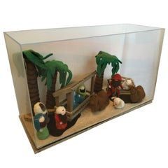 Decorative Art Felt Nativity Scene Enclosed in Lucite by AMK for Patricia Kagan