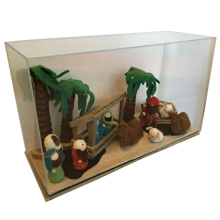 Decorative Art Felt Nativity Scene Enclosed in Lucite by AMK for Patricia Kagan For Sale