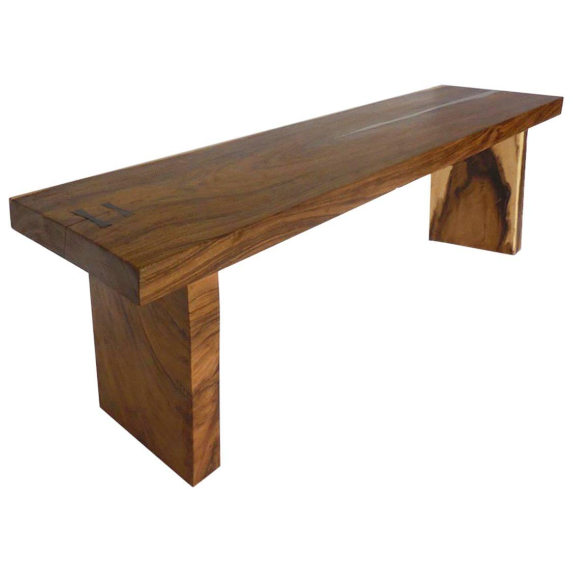 Rustic organic asian teak wood console table for sale at 1stdibs organic modern wood slab console table with pewter inlay geotapseo Image collections