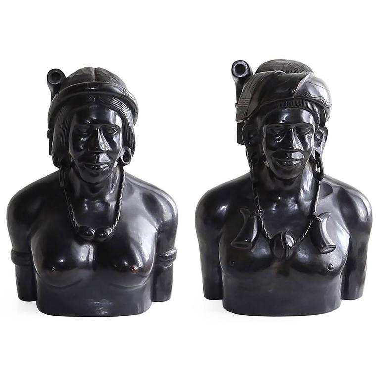 Incredible Pair of Hand-Carved Wood Bust Sculptures of Tribal Shaman Figures 1