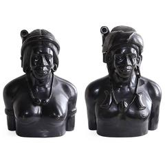 Incredible Pair of Hand-Carved Wood Bust Sculptures of Tribal Shaman Figures