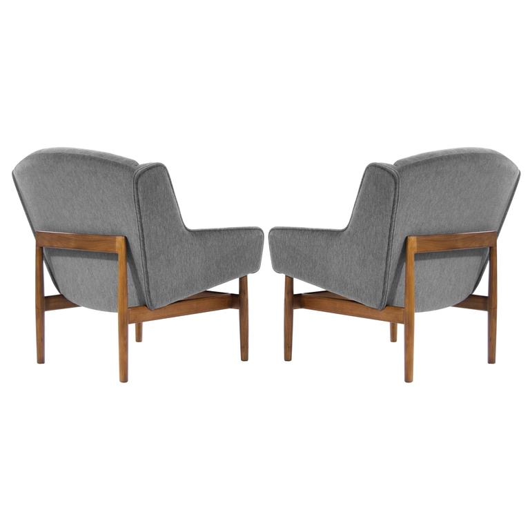 Pair Of Jens Risom Lounge Chairs In Grey Mohair 1