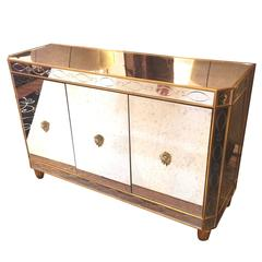 Glitzy Aged and Etched Mirrored Sideboard