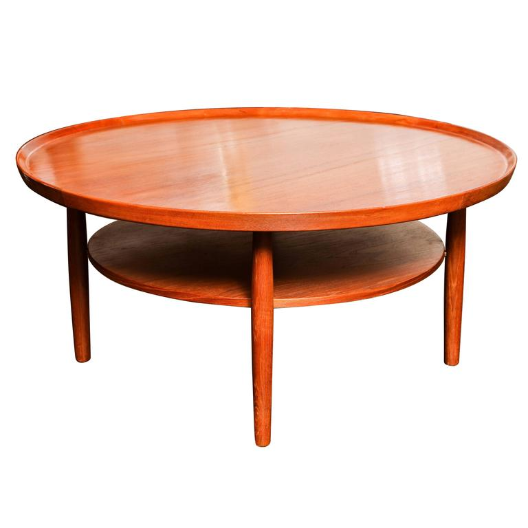 Mid-Century Circular Teak Two-Tier Cocktail Table For Sale