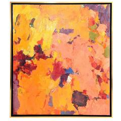 Carol Haerer Framed Multi-Color Abstract Oil on Canvas Painting, circa 1957
