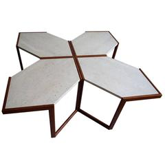 Set of Four Italian Modular Wood and Stone Coffee Side Sofa Tables, 1960s