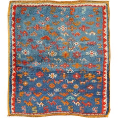 Vintage Moroccan Rug with Beautiful Blue Background