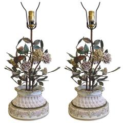 Pair of Italian Hand Made Floral Table Lamps by Capodimonte, Italy, 1950