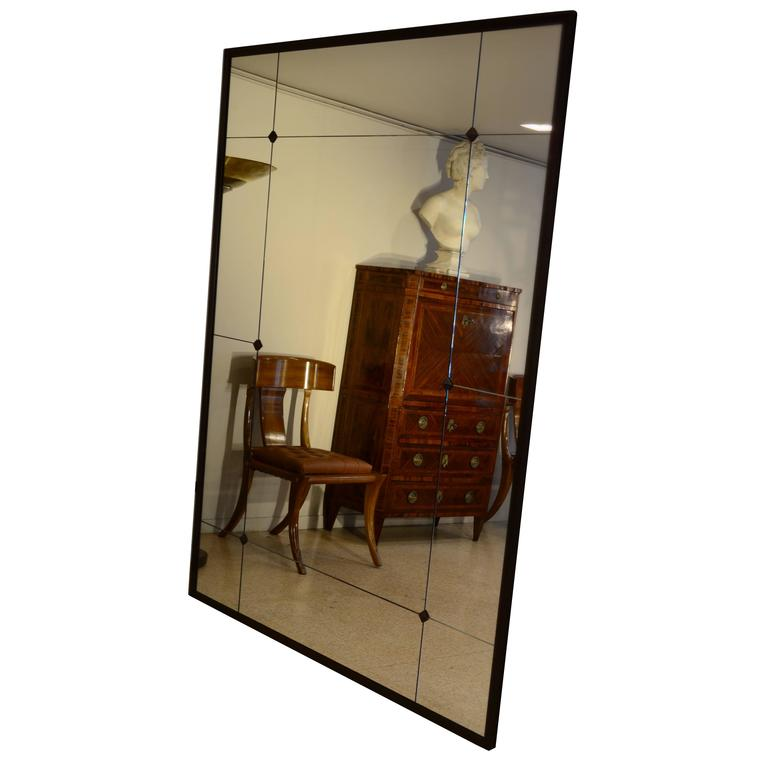 Customizable Industrial Floor Mirror Iron Frame Panelled and Studded Glass
