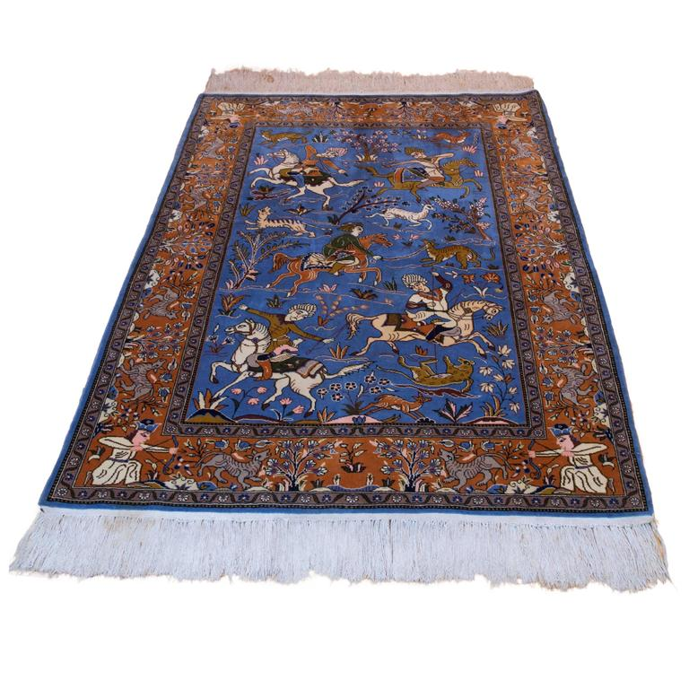 Iranian Shiraz Rug Carpet Wool And Silk 1930s For Sale At