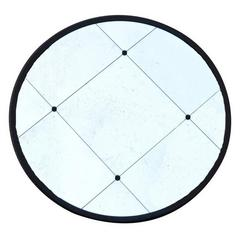 Contemporary Industrial Iron Round Frame Mirror with Studs