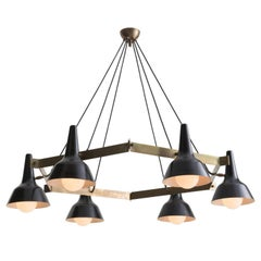 Brass Hexagon and Black Metal Modern Chandelier